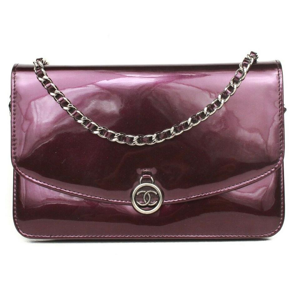 408a93aac51a Chanel Wallet on Chain Crossbody Flap Silver Cc Purple Patent Leather Clutch