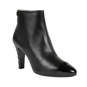 Chanel Lambskin Cap Toe Patent Leather Leather Black Boots