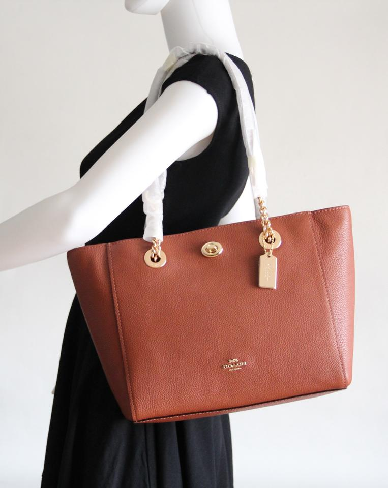 6f61fb04d68b Coach Turnlock 27 Chain Tote Brown Leather Shoulder Bag - Tradesy