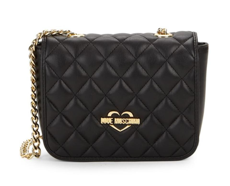 3898feadf82 Love Moschino Diamond Quilted Black Faux Leather Cross Body Bag 39% off  retail