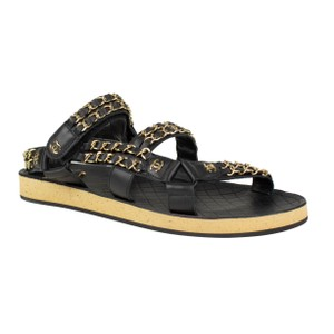 247943e9b6c9 Chanel Black Braided Leather with Gold Chain Sandals Size EU 40 ...