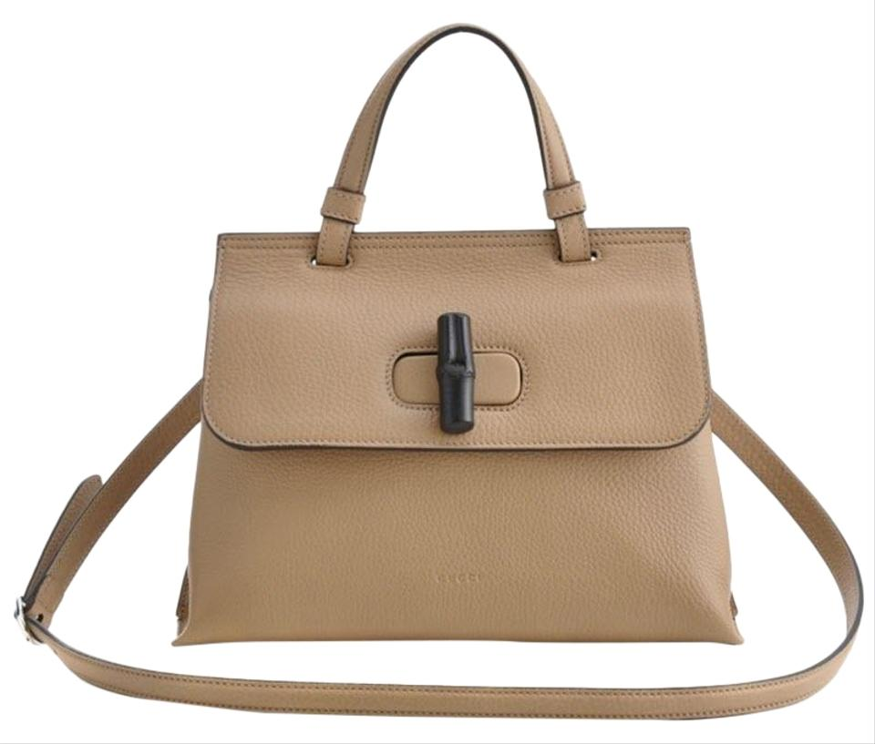 15df283b3564 Gucci Bamboo Daily 2way Crossbody Camelia Top Handle Brown Leather ...