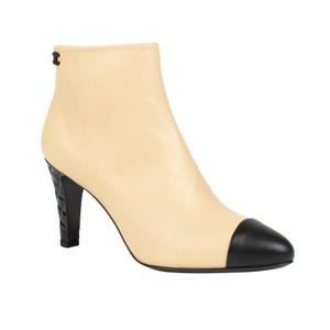 Chanel Lambskin Cap Toe Patent Leather Leather Beige Boots