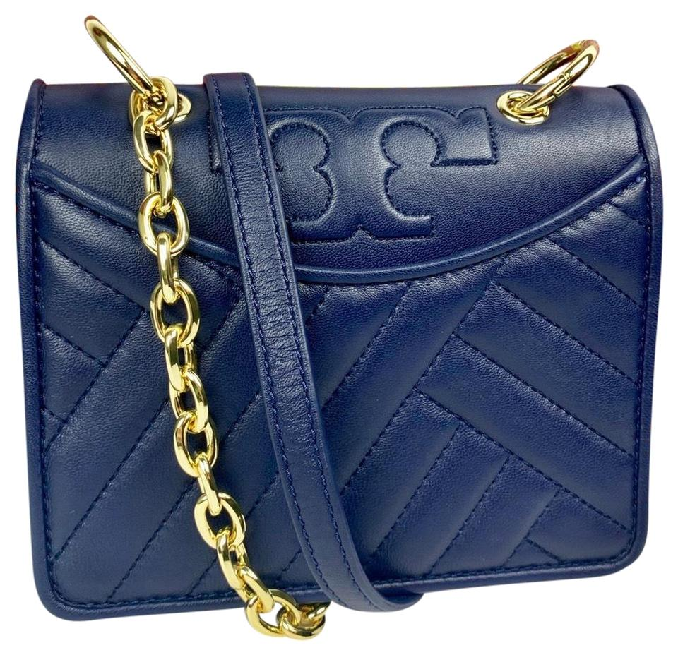 3986ec773260 Tory Burch Alexa Quilted Mini Shoulder Royal Navy Leather Cross Body ...