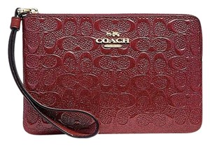 Coach Phone Case Pouch Pochette Wallet Vernis Vernice Crossbody Wristlet in Red