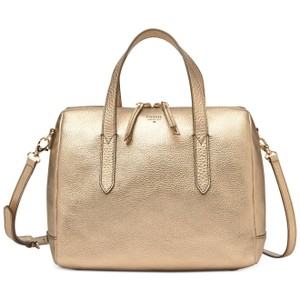Fossil Leather Satchel in Metallic Gold