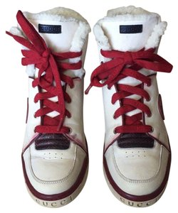 736ab375bbf Gucci High Top Sneaker Boot Fur Inside Leather Winter Snow White Red  Athletic