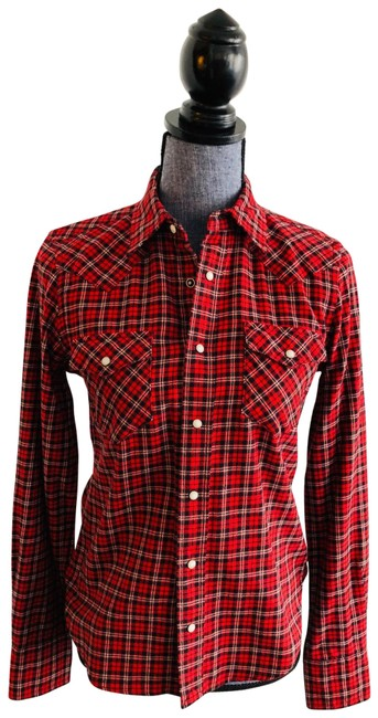 Item - Red Black White Sport Plaid Flannel Shirt Button-down Top Size 6 (S)