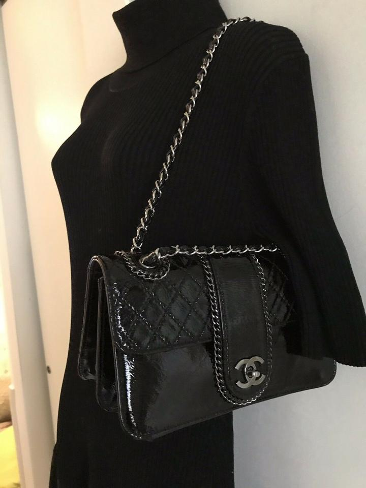 09caa91be32e70 Chanel with Top Handle Classic Patent Madison Flap Medium Size Black  Leather Shoulder Bag - Tradesy