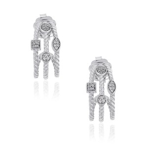 David Yurman David Yurman Sterling Silver Confetti Three Row Diamond Earrings