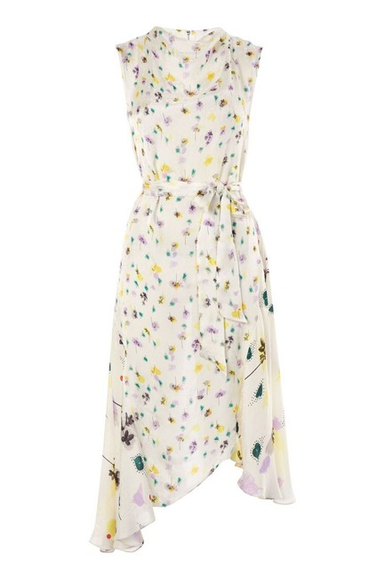 Item - Ivory Ditsy Ink Floral Asymmetrical Mid-length Cocktail Dress Size 2 (XS)