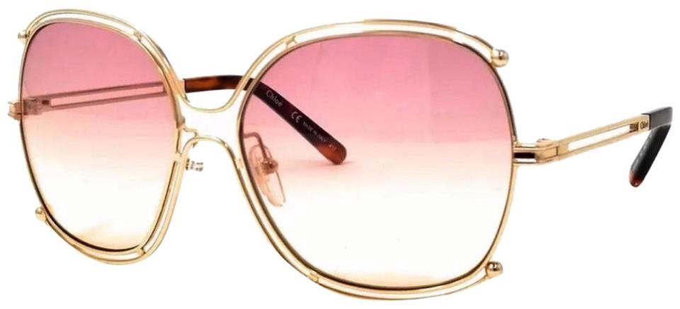 03adac5efd Chloé Rose Honey Gold Rectangular Frame Ce129s 702 Sunglasses - Tradesy