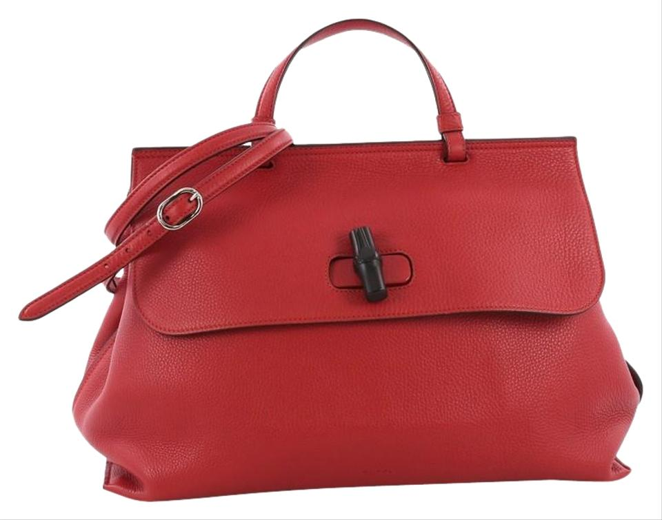 ce670741e1b Gucci Bamboo Daily Top Handle Large Red Leather Satchel - Tradesy