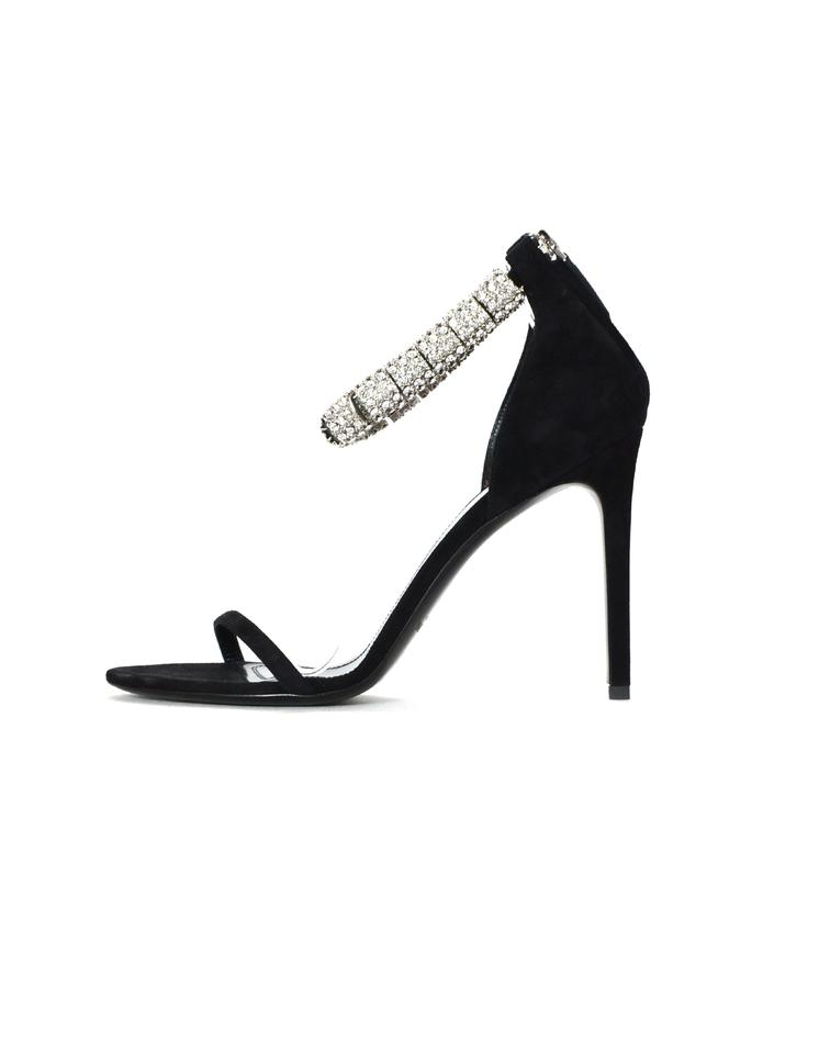 169465ab6fe16a Calvin Klein Black 205w39nyc Suede Camelle Crystal-embellished Sandals