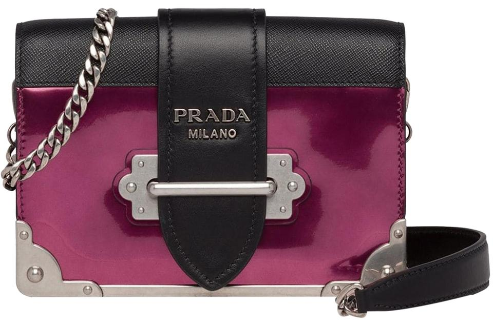 b18b5f37318e5a Prada Cahier Pink Purple Saffiano Leather Shoulder Bag - Tradesy