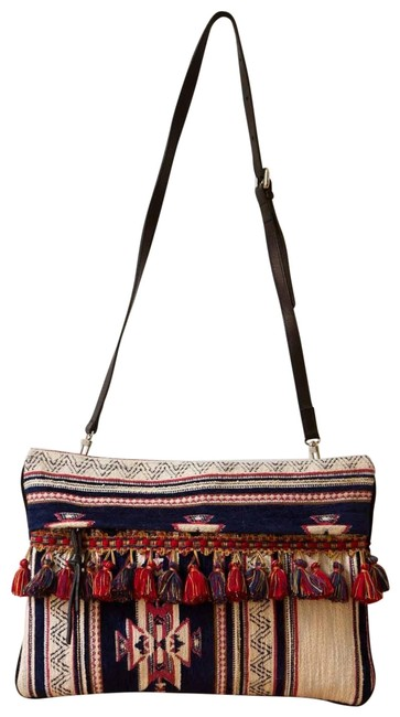 Item - Clutch Moroccan Convertable Navy Red Gold Textile / Leather Cross Body Bag