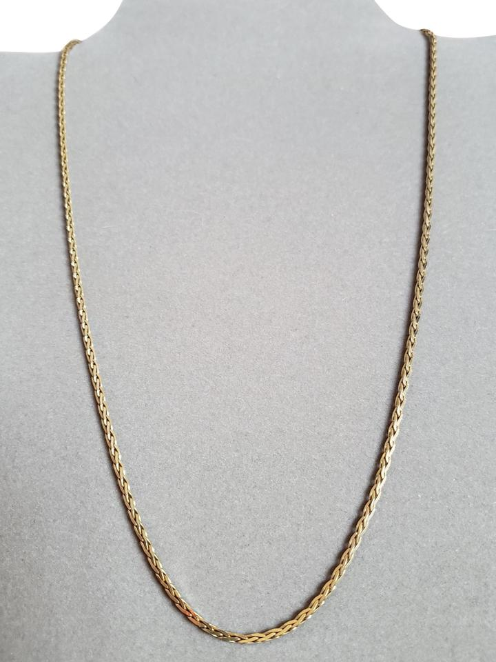 f7e7ac5f65c8 14k Solid Yellow Gold Spiga Wheat Square Link 585 Made In Italy Vintage  Necklace