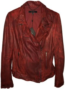 Muubaa Rock And Roll Ruby Soft Cherry Red Leather Jacket