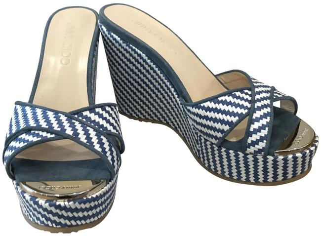 Item - White Blue And Perfume Wedges Size EU 37 (Approx. US 7) Regular (M, B)
