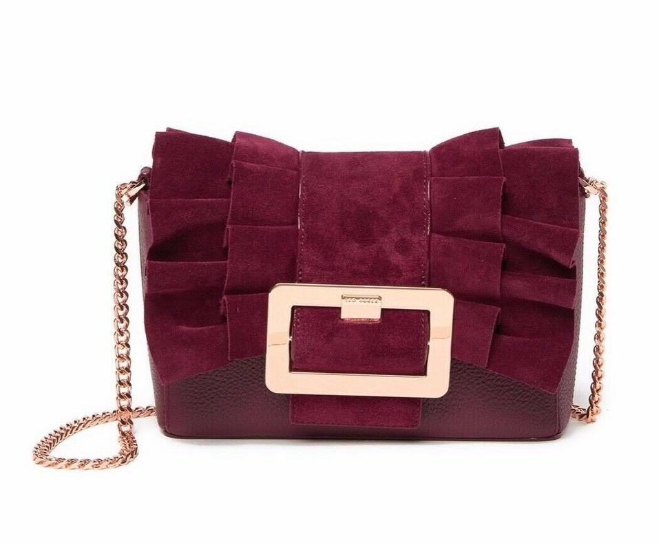 69e5d35166d369 Ted Baker Nerinee Frill Buckle Clutch Red Suede Leather Shoulder Bag ...