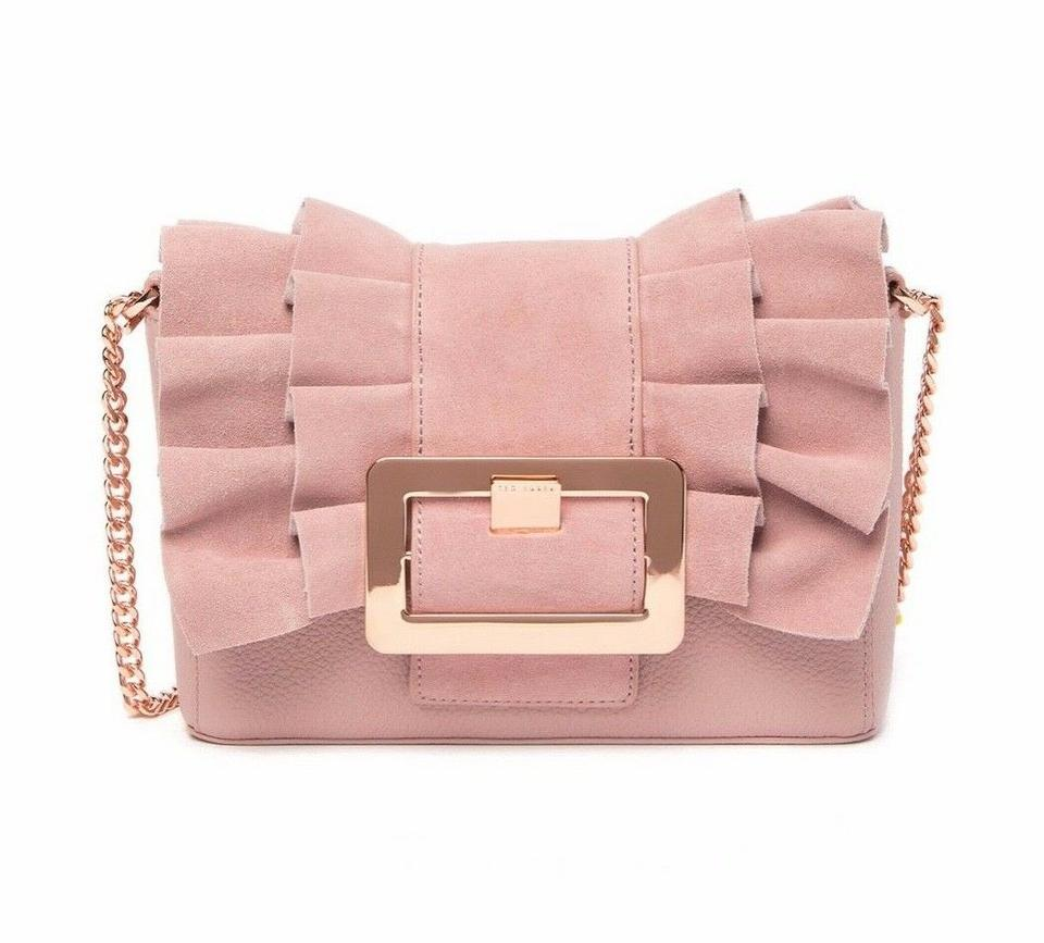 aa838e61f914c0 Ted Baker Nerinee Frill Buckle Clutch Pink Suede Leather Shoulder ...