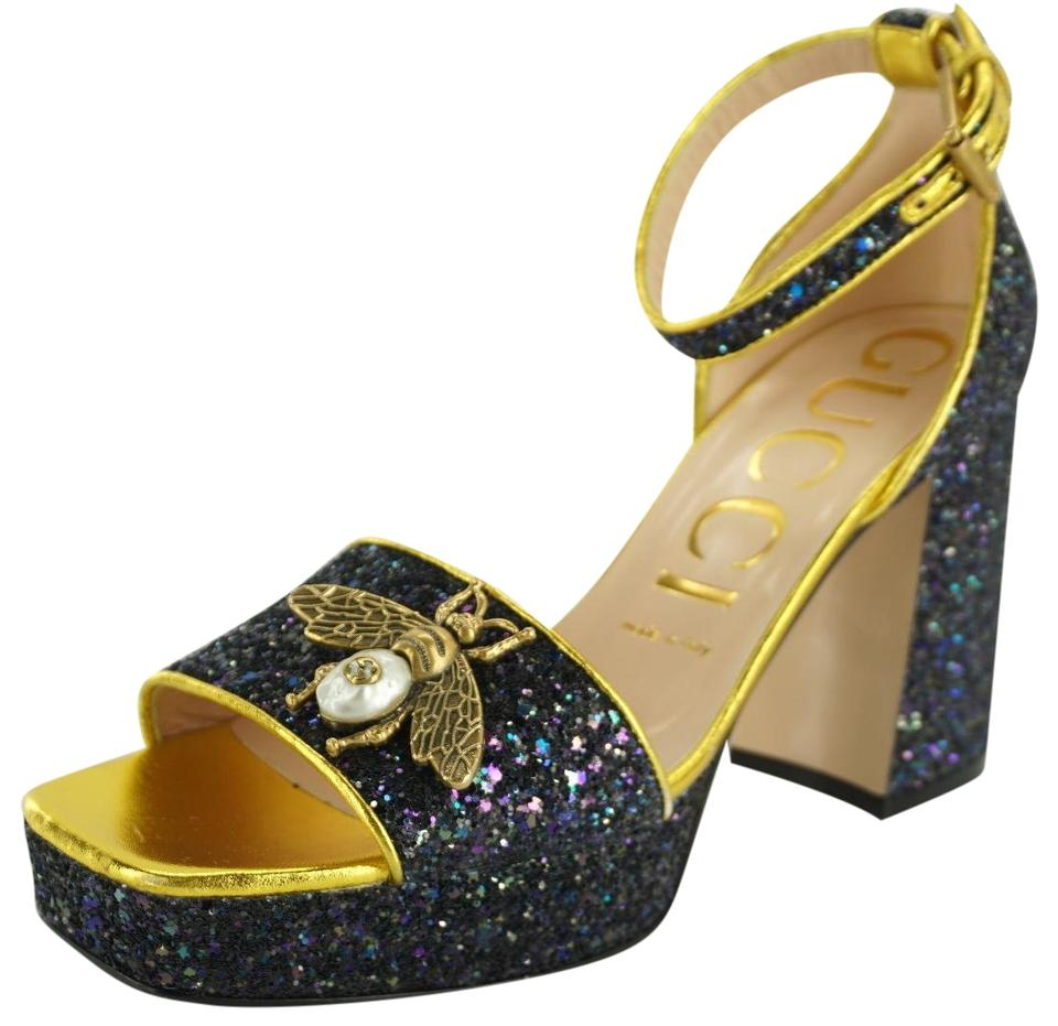 4af6a2117e91 Gucci Blue Glitter Soko Block Heel D orsay Bee Ankle Strap Sandals ...