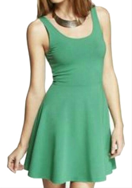Item - Green Fit and Flare Skater Short Casual Dress Size 4 (S)