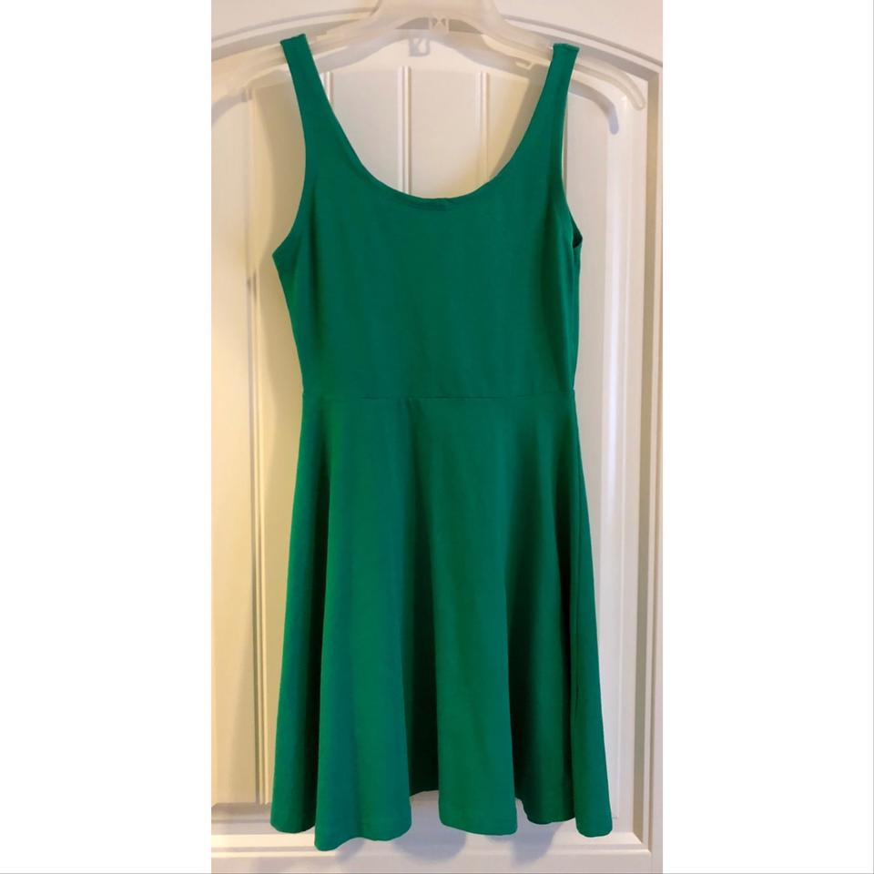 7bcb73815553a Express Green Fit and Flare Skater Short Casual Dress Size 4 (S ...