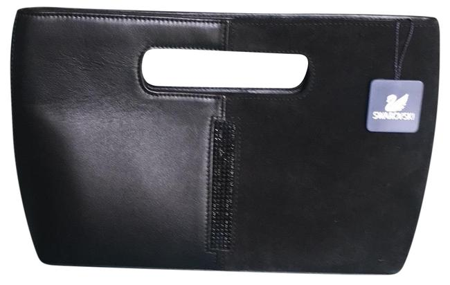 Item - Evening Black Leather and Suede Leather Clutch
