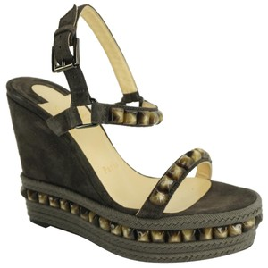 969ab2eac93e Christian Louboutin Cataclou Espadrilles Studded Sandals Grey Wedges