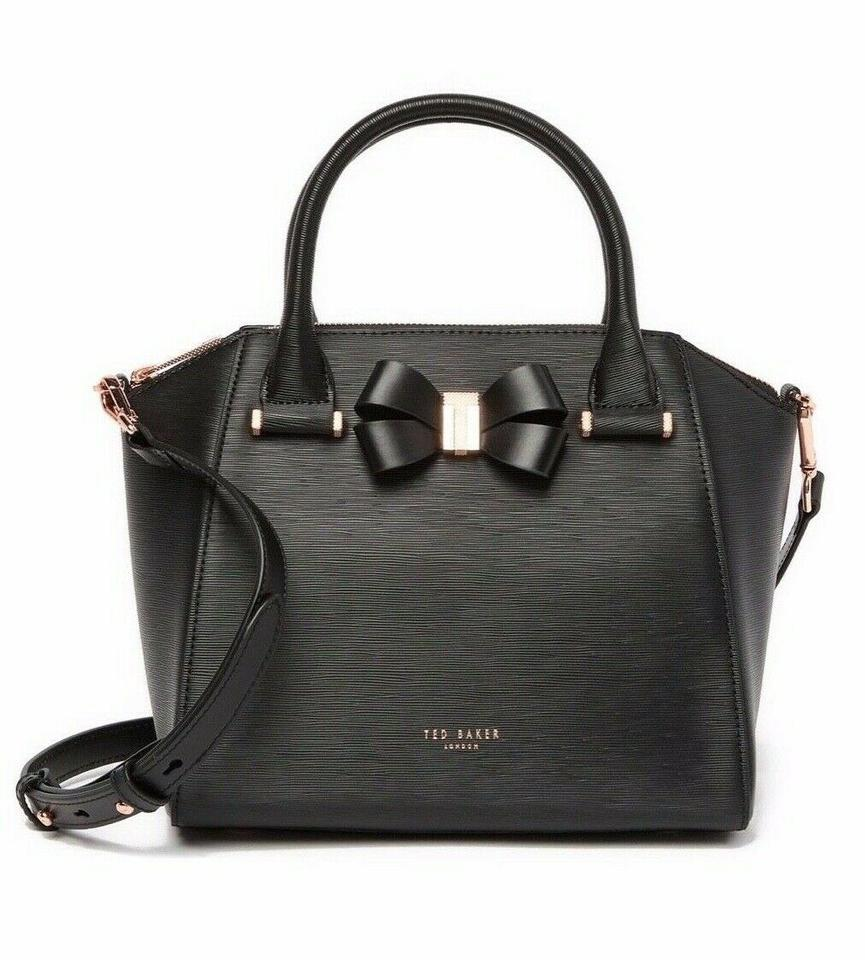 6e5559cb40cb65 Ted Baker Charmea Bow Detail Small Tote Black Leather Cross Body Bag ...