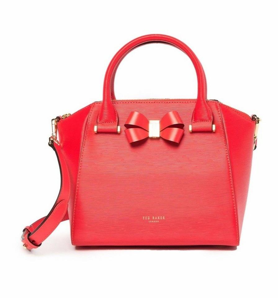 56e587dd3 Ted Baker Charmea Bow Detail Small Tote Red Leather Cross Body Bag ...
