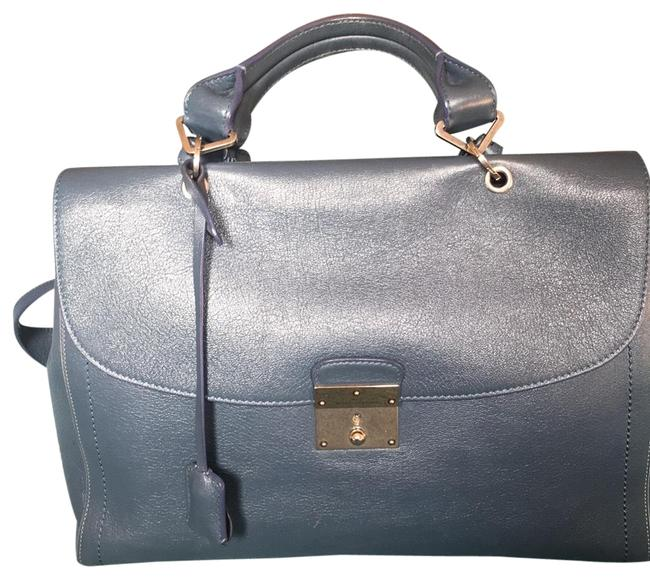 Item - Classical Medium Blue with Silver Leather Satchel