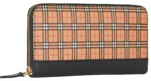 Burberry Small Check Zip Around Wallet