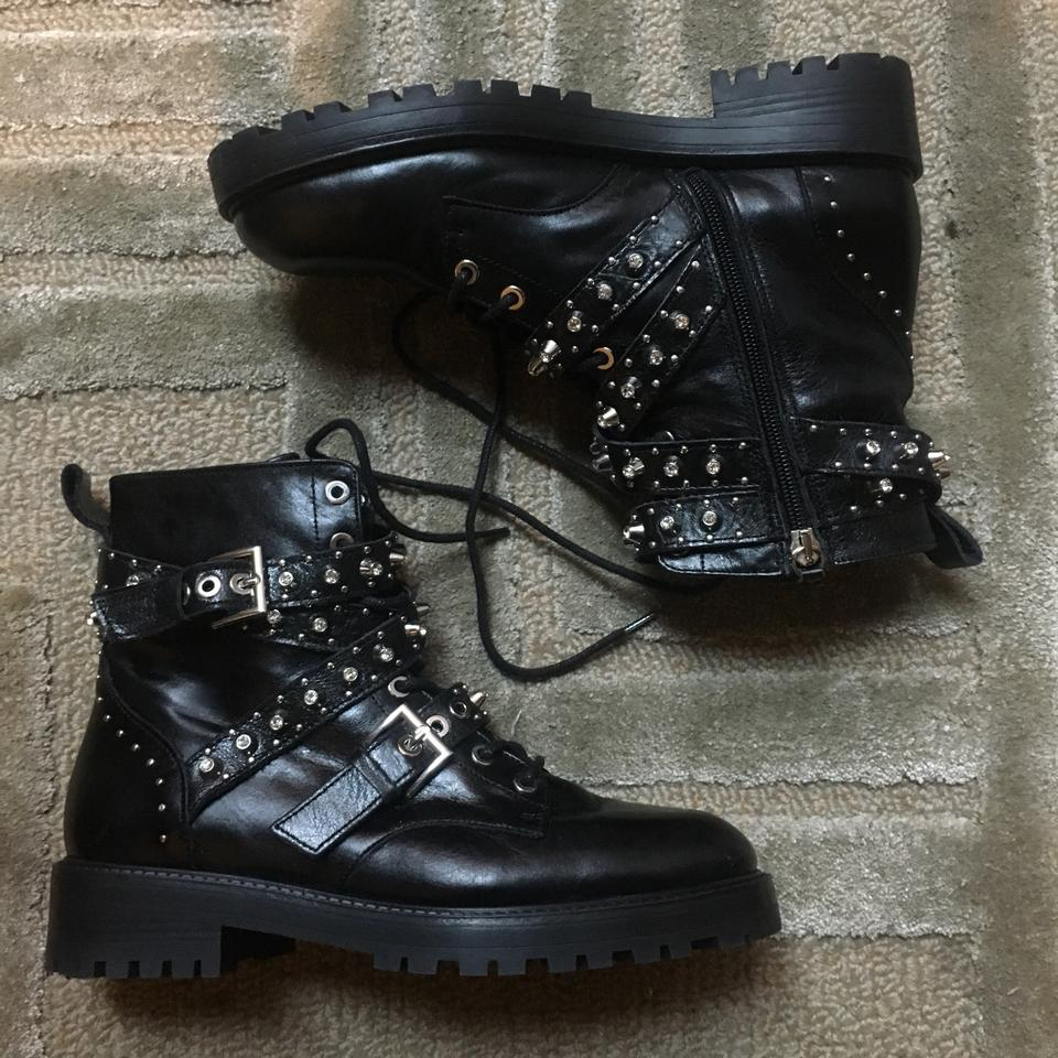 2df246031b5763 Zara Black Bejeweled Moto Ankle Boots Booties Size EU 38 (Approx. US ...