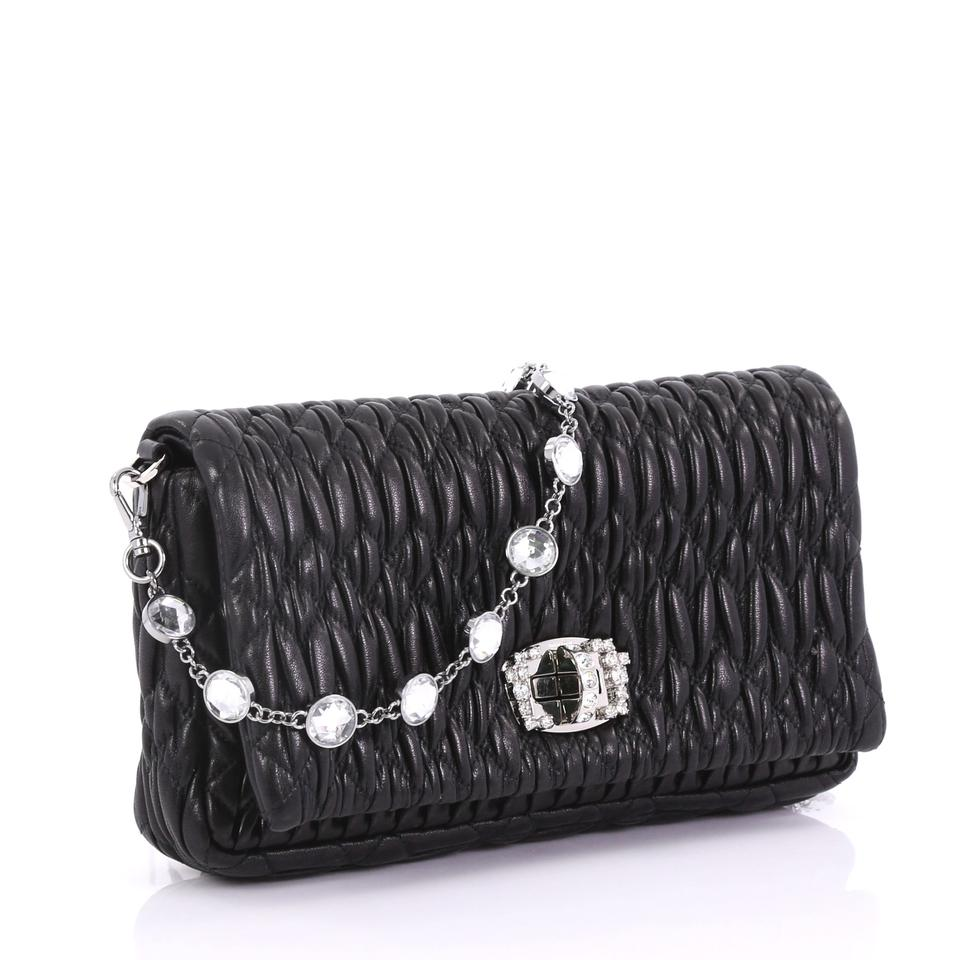 Miu Miu Crystal Matelasse Small Black Leather Clutch - Tradesy 74e641aa0431a