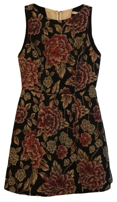 Item - Black Red Gold Shimmer And Floral Short Cocktail Dress Size 4 (S)