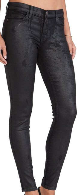 Item - Black Coated  Distressed Trucker Coating The Ankle Skinny Jeans Size 24 (0, XS)