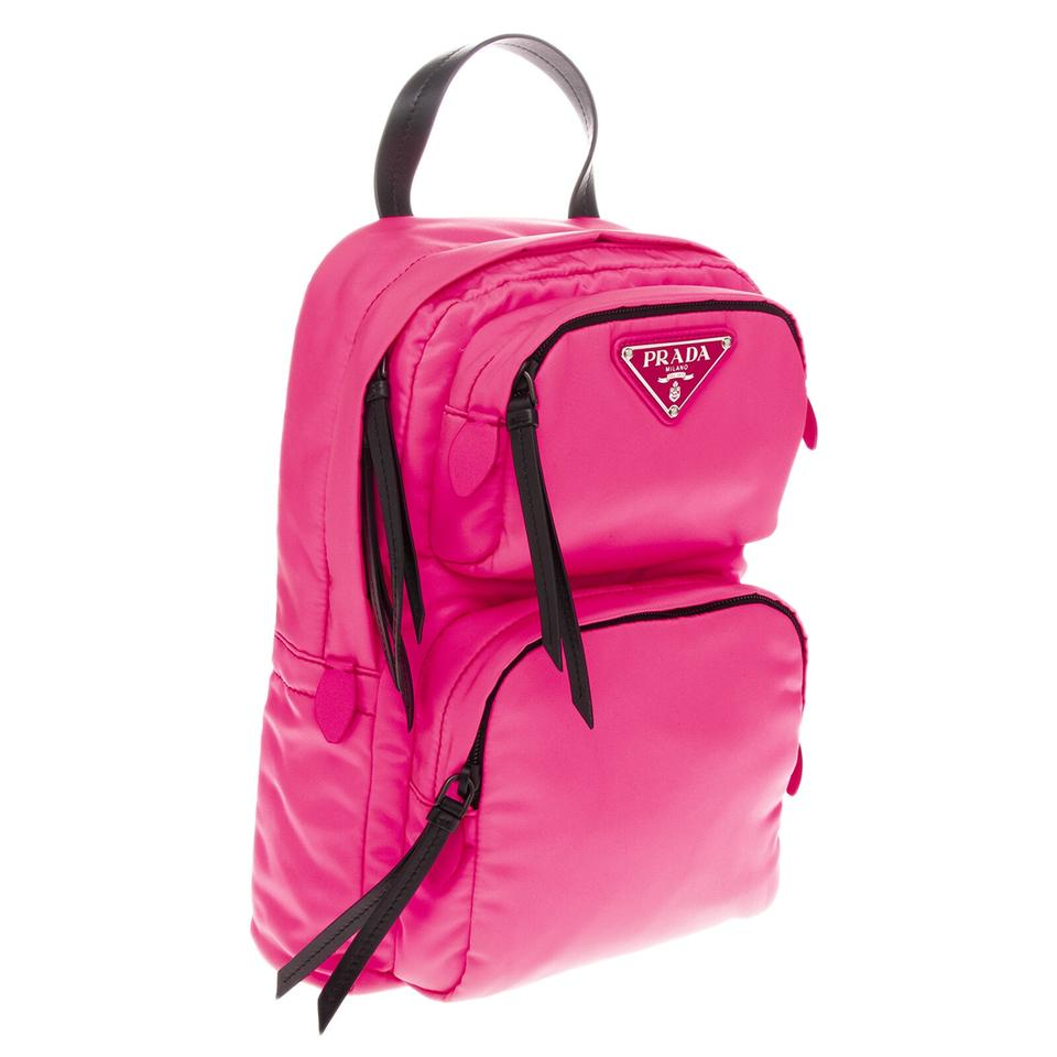 3a4bd2846e17 Prada Nylon/Leather One Shoulder Neon Pink Rose Backpack - Tradesy