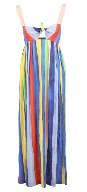 Item - Multicolor Striped Linen Long Casual Maxi Dress Size 0 (XS)
