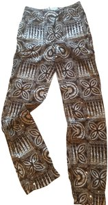 paco rabanne Vintage Sequin Print Straight Pants Brown / Off White