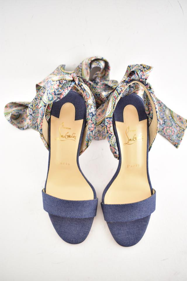 check out 3042f f4854 Christian Louboutin Blue Sandale Du Desert 100 Denim Satin Lace Up Sandal  Stiletto Heel Pumps Size EU 36.5 (Approx. US 6.5) Regular (M, B)