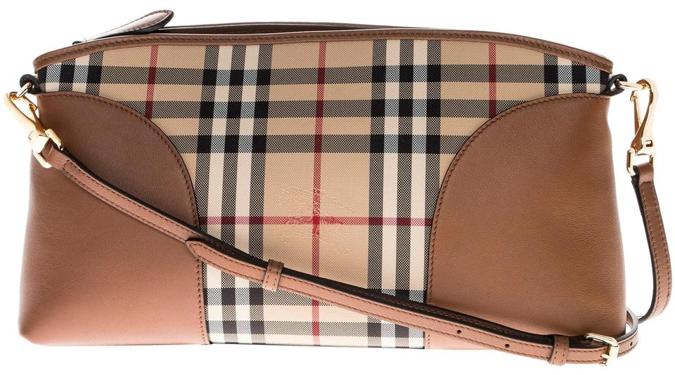890fb8478a5a Burberry Women s Horseferry Check and Leather Honey + Tan Clutch ...
