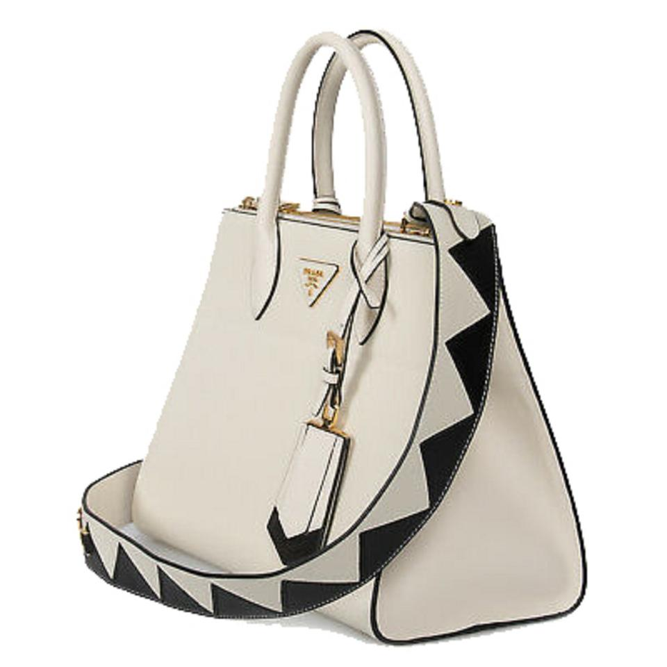 5b43104359cc2 Prada Saffiano Cross Body Handbag 1ba102 White Leather Tote - Tradesy