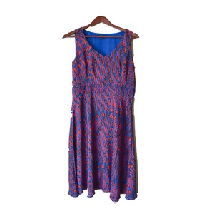 Banana Republic short dress Blue & Red Eclectic Color-blocking Chic Flowing on Tradesy