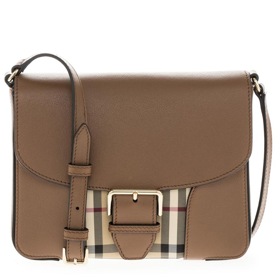 Burberry Women s  small Horseferry  Check and Leather Ho Dark Tan ... 83456903e2880