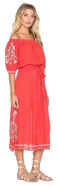 Item - Peach White XS Off Shoulder Embroidered Boho Midi Mid-length Casual Maxi Dress Size 2 (XS)