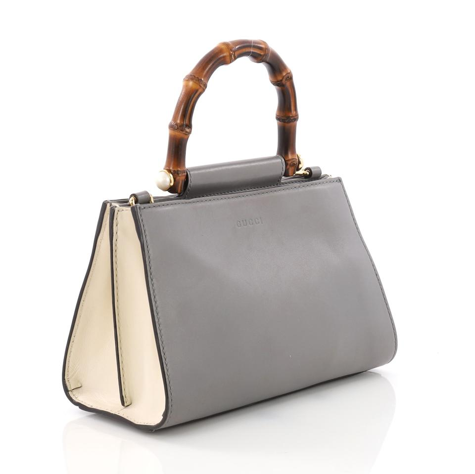 87777df68d Gucci Nymphaea Top Handle Bag Mini Gray and White Leather Tote 45% off  retail