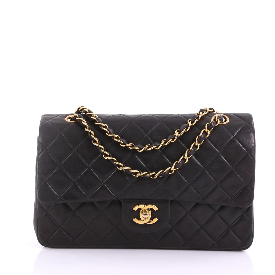 a434f87bcd6 Chanel Classic Flap Vintage Classic Double Quilted Lambskin Medium Black  Leather Shoulder Bag
