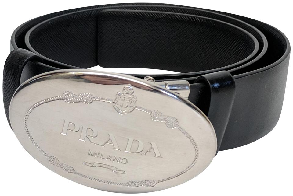 5b22d70c435a1 Prada Prada Saffiano Leather Belt with Silver Oval Buckle Image 0 ...